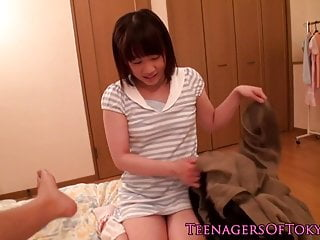Inept japanese teen swell up..