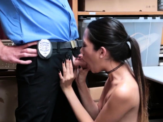 Blonde police threesome with..