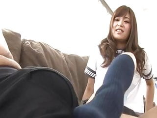 Japanese teen Footjob